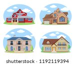 vector buildings set. flat... | Shutterstock .eps vector #1192119394