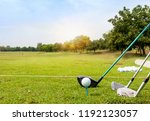 white golf ball on tee ready to ... | Shutterstock . vector #1192123057