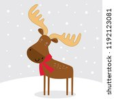 cute moose  cute christmas... | Shutterstock .eps vector #1192123081