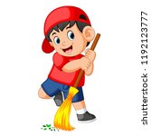 the happy boy using the red cap ... | Shutterstock . vector #1192123777