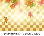 japanese autumn on gold... | Shutterstock .eps vector #1192124377