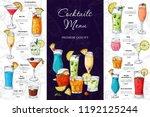 alcohol drinks menu. bar... | Shutterstock .eps vector #1192125244