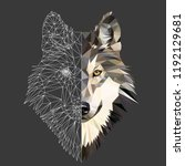 wild wolf face on grey... | Shutterstock .eps vector #1192129681