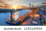 container ship from sea port...   Shutterstock . vector #1192129954