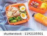 preparing various healthy lunch ... | Shutterstock . vector #1192135501