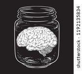 human brain in glass jar... | Shutterstock .eps vector #1192135834
