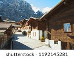 old street in leukerbad in... | Shutterstock . vector #1192145281