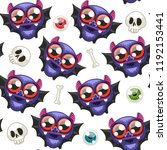 halloween seamless pattern with ... | Shutterstock .eps vector #1192153441