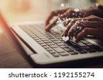 businesswoman laptop using ... | Shutterstock . vector #1192155274