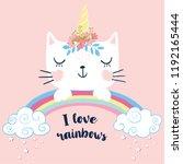 cute cat unicorn with rainbow...   Shutterstock .eps vector #1192165444