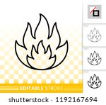 fire thin line icon. outline... | Shutterstock .eps vector #1192167694