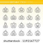 jack o lantern thin line icon... | Shutterstock .eps vector #1192167727