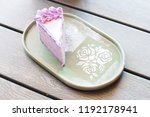 Taro Cake On A Plate With Rose...