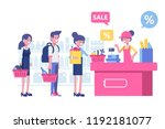 people shopping in supermarket. ... | Shutterstock .eps vector #1192181077