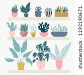 botanic collection with garden...   Shutterstock .eps vector #1192190671