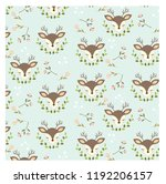 pattern of dear and leaf on... | Shutterstock .eps vector #1192206157