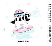 penguin girl on snowboard  ...   Shutterstock .eps vector #1192217131