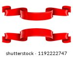 red shiny 3d ribbon scrolls.... | Shutterstock . vector #1192222747