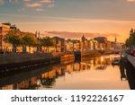 Beautiful golden hour view over Dublin city center in Dublin, Ireland