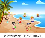 the summer view with a grup of... | Shutterstock . vector #1192248874