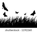 butterflies flying over grass | Shutterstock .eps vector #1192260