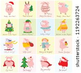vector illustration cards with... | Shutterstock .eps vector #1192263724
