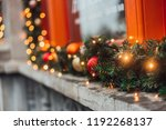 christmas winter decorations on ... | Shutterstock . vector #1192268137