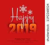 2019 happy new year red... | Shutterstock .eps vector #1192268524