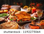 thanksgiving dinner. roasted... | Shutterstock . vector #1192275064