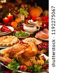 thanksgiving dinner. roasted... | Shutterstock . vector #1192275067