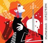 fashion woman in style pop art...   Shutterstock .eps vector #1192275394