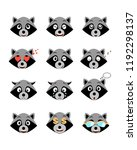 cartoon raccoon emotions set.... | Shutterstock .eps vector #1192298137