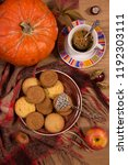 fall concept with pumpkin and a ...   Shutterstock . vector #1192303111