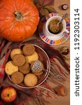 fall concept with pumpkin and a ...   Shutterstock . vector #1192303114
