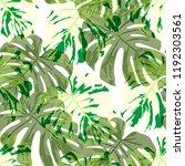 tropical leaves. seamless... | Shutterstock .eps vector #1192303561
