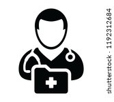health icon vector male doctor... | Shutterstock .eps vector #1192312684