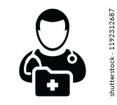 doctor icon vector male person... | Shutterstock .eps vector #1192312687