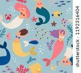 mermaid girls pattern. cute... | Shutterstock .eps vector #1192316404