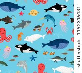 sea animals on blue background... | Shutterstock .eps vector #1192316431