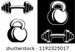 kettlebell and barbell ... | Shutterstock .eps vector #1192325017