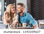 happy romantic couple hugging... | Shutterstock . vector #1192339627