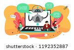 talking to a chatbot online on... | Shutterstock .eps vector #1192352887