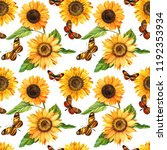 watercolor sunflowers and... | Shutterstock . vector #1192353934