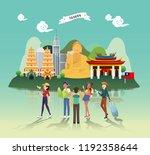 tourist attraction landmarks in ... | Shutterstock .eps vector #1192358644