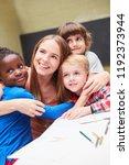 kindergarten teacher and... | Shutterstock . vector #1192373944