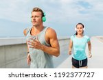 sport  people and technology... | Shutterstock . vector #1192377727