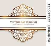 vintage gold frame with lace... | Shutterstock .eps vector #1192377781