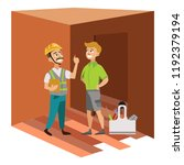 two men examining room in house ... | Shutterstock .eps vector #1192379194