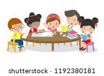 pupils study in the classroom ... | Shutterstock .eps vector #1192380181