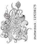 Romantic black and white hand drawn floral ornament for holiday design - stock photo